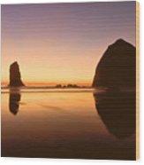 Nightfall At Cannon Beach Oregon Wood Print