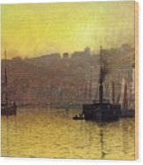 Nightfall In Scarborough Harbour Wood Print