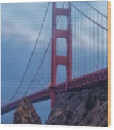 Nightfall Over Golden Gate Wood Print