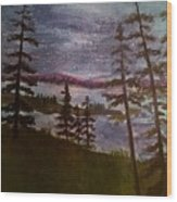 Nightime Rangely Lake Maine Wood Print