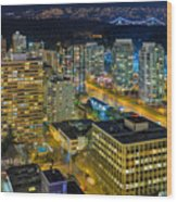 Nightlife On The Other End Of Robson Street Wood Print