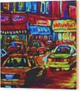 Nightlights On Main Street Wood Print