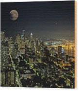 Nightlights Seattle Washington  Wood Print