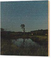 Nightscape And Dam Landscape Wood Print