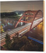 Nighttime Boats Cruise Up And Down The Loop 360 Bridge, A Boaters Paradise With Activities That Include Boating, Fishing, Swimming And Picnicking - Stock Image Wood Print