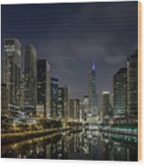Nighttime Chicago River And Skyline View Wood Print