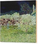 Nighttime In The Church Graveyard Wood Print