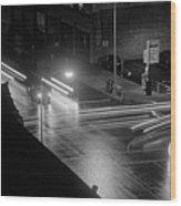 Nighttime Street Scene With Traffic Wood Print