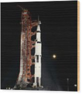 Nighttime View Of The Apollo 12 Space Wood Print