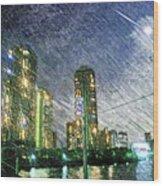 Tokyo River Wood Print