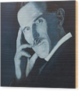 Nikola Tesla - Blue Portrait Wood Print
