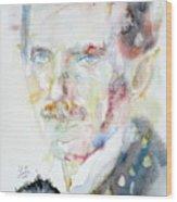 Nikola Tesla - Watercolor Portrait.3 Wood Print