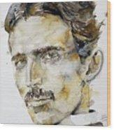 Nikola Tesla - Watercolor Portrait.6 Wood Print