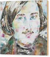 Nikolai Gogol - Watercolor Portrait Wood Print