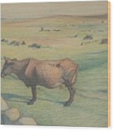 Nils Kreuger, 1858-1930, Cow In The Meadow Wood Print
