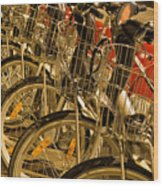 Bikes For Hire In Lyon Wood Print