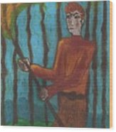 Nine Of Wands Illustrated Wood Print