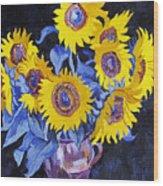 Nine Sunflowers With Black Background Wood Print