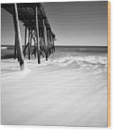 Nj Shore In Black And White Wood Print