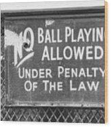 No Ball Playing  Wood Print