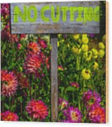 No Cutting Sign In Garden Wood Print