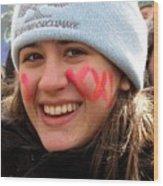 No Kxl Face Paint At Political Demonstration Wood Print