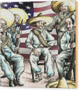 No Mexican Wall, Mister Trump - Political Cartoon Wood Print