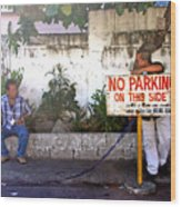 No Parking This Side Wood Print