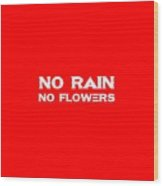 No Rain No Flowers - Life Inspirational Quote 3 Wood Print