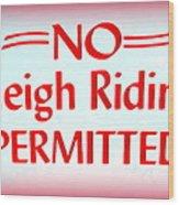 No Sleigh Riding Wood Print