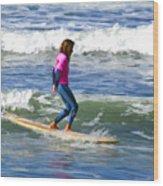 No Stress Surfing Wood Print