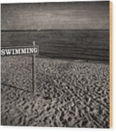 No Swimming Wood Print