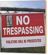 No Trespassing And ... Wood Print