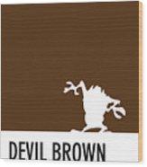 No16 My Minimal Color Code Poster Tasmanian Devil Wood Print