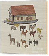 Noah's Ark And Animals Wood Print