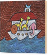 Noahs Ark With Blue Bird Wood Print