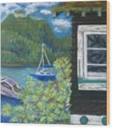 Noble Cottage At The Lake Wood Print