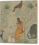 Noble Woman In A Garden Wood Print