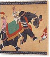 Nobleman Riding Elephant Wood Print