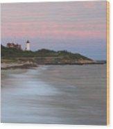 Nobska Lighthouse Evening Surf Wood Print