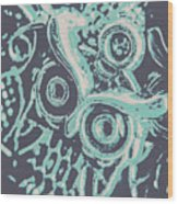 Nocturnal The Blue Owl Wood Print