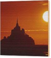 Normandy Sunset Wood Print