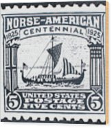 Norse-american Centennial Stamp Wood Print