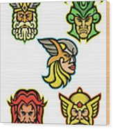 Norse Gods Mascot Collection Wood Print