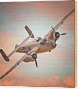 Pacific Princess North American B-25 Mitchell Across Rosy Skies Wood Print