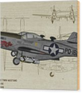 North American F-82b Twin Mustang - Profile Art Wood Print