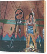 North American Indian Contemplating Wood Print