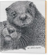 North American River Otters Wood Print