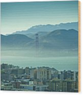 North Beach And Golden Gate Wood Print by Hal Bergman Photography