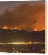 North Boulder Colorado Fire Above In The Hills Wood Print